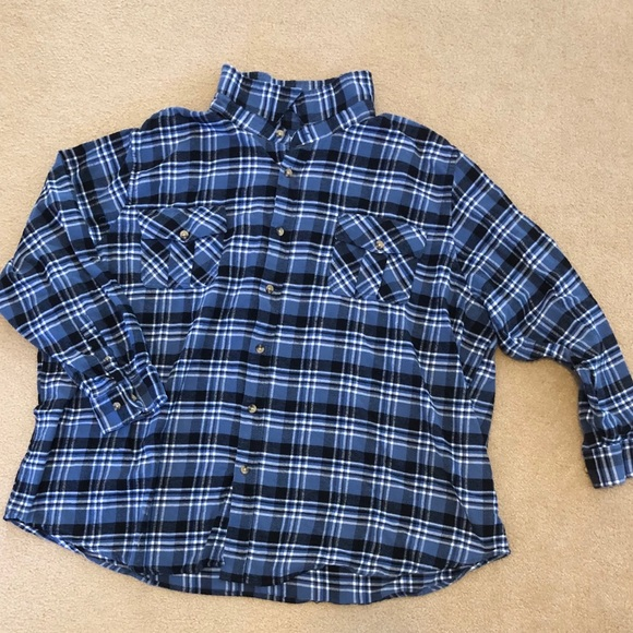 King Size Other - Mens soft brushed shirt in blue plaid